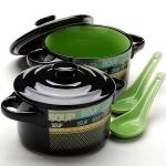 Набор керамических кастрюль, зеленый (2х450мл)